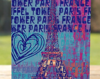 Paris Greeting Card   Colorful Eiffel Tower Go See Paris   A7 5x7 Folded - Blank Inside - Wholesale Available
