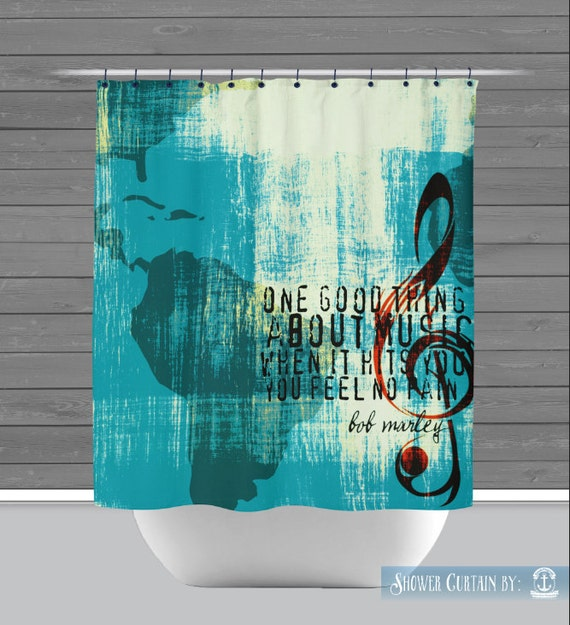 Music Shower Curtain: One Good Thing About Music Bob Marley Lyrics ...