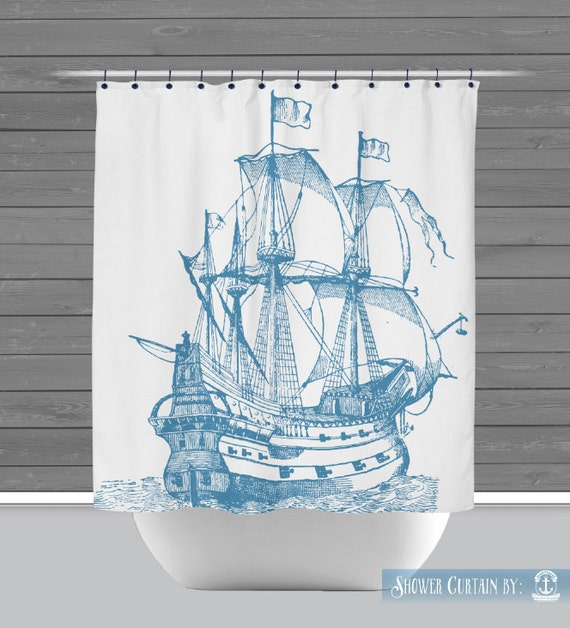 Blue Ship Shower Curtain: Sailing Ship Nautical Beach House Style ...