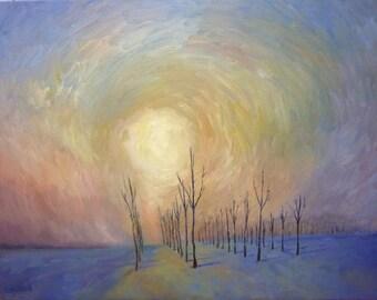 Colorful Sunrise Landscape Original Oil Painting