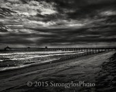 Black and White photo, beach, sky, clouds, pier, fine art photography, Imperial Beach, California