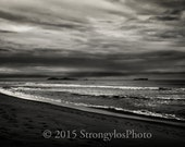 B/W photography, ocean view in black and white, cloudy sky photo, islands, waves, sandy shoreline, fine are photography