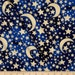 Fat Quarter ONLY - Metallic Gold Moon & Stars on Midnight Blue from Michael Miller