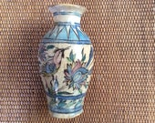 Vintage Iranian Glazed Ceramic Flower Vase With Bird and Flower