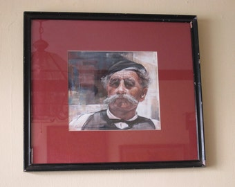 Oil on Canvas Portrait Painting of Old Gentleman by Linford Donovan, Country Rustic Primitive Home Decor, Unique Housewarming Gift Ideas