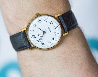 Unused quartz watch, gold plated unisex watch Ray, minimalist quartz watch, slim watch, boyfriend's wristwatch, premium leather strap new