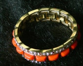 orange and rhinestone   bracelet