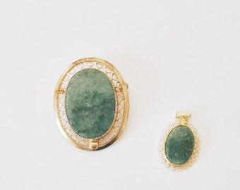 Vintage Gold Jade Brooch Pendant Set of Pendants Midcentury Jewelry Filigree Gold Jade Pendant Brooch Set Midcentury Victorian Style Pin