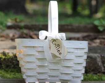 Rustic Flower Girl Basket Personalized Heart Custom Ribbon Color Shabby Chic Weddings