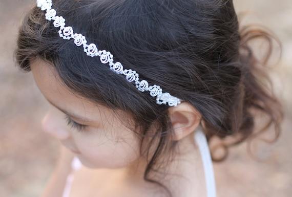 Flower Girl Headpiece Headband Pearls and Lace Ivory or White Wedding Bridal, Christening, Child Headband Baby Girl