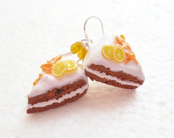 Carrot And Orange Cake Earrings. Polymer Clay.