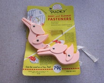 Vintage Pink Plastic Baby Ducky Fasteners for Sheets and Blanket