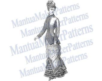 "Victorian Dress Engraving, 11"" tall, Instant Digital Download, JPG & PNG, 1879 #9"