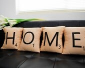 Set of 4 SCRABBLE LETTER decorative pillow cases cushion covers -- HOME or choose any 4 letters