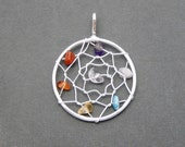 Dream Catcher Pendant with Gemstone Accents -- Silver Plated (S33B15-04)