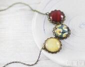 Yellow Necklace - Jewelry - Designer Jewelry - Vintage Style Jewelry - Red Necklace - Art jewelry (4-13N)