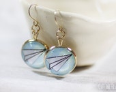 Blue Earrings - 14k Gold Jewelry - Gold Filled Earrings - Origami Earrings - Art jewelry - Paper Plane (8-7E)