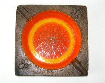 Mid Century Aldo Londi for Bitossi Sunset Orange Ashtray- Rosenthal Netter Label -Sgraffito Geometric Italian Pottery
