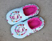 Slippers made with Hello Kitty Fabric , Daycare Shoes, Pre-school Slippers  ALL SIZES