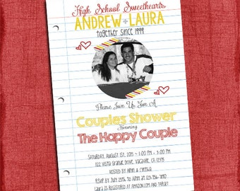 High School Sweethearts Couples Wedding Shower 4x6 or 5x7 Invitation - I Design You print