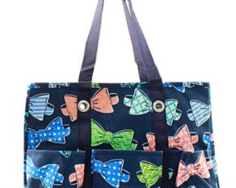 Monogrammed Bow Tie Organizing Tote - TEACHER Bag - Carryall Tote