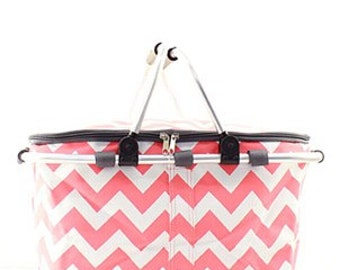 Monogrammed Market Tote - Coral Chevron - Bridesmaids Gift - Summer Tote - Insulated