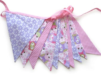 Hoot Owls Flag Bunting for Girls. Use - Owl Wall hanging, Parties, Market Stall, Bedroom Decoration, etc