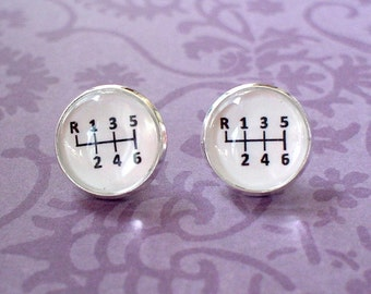 20% OFF -- Black and white Gear Stick stud eraaings ,post earrings,Perfect Gift Idea (white)