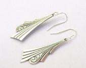 Silver Earrings, Art Nouveau Earrings, sterling , french hooks, vintage style, dangle, art deco, fashion, 925