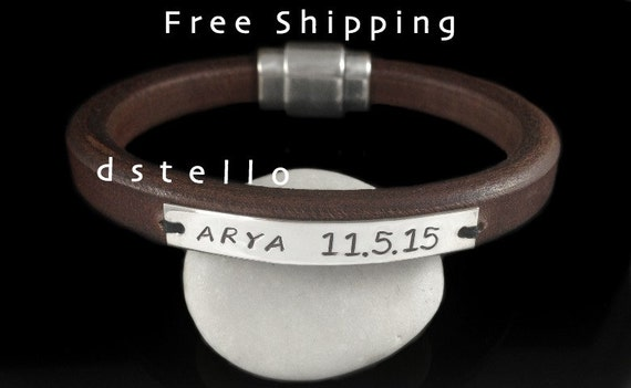 FREE SHIPPING - Engraved bracelet, Mens jewelry leather bracelet, Name, Date, Wedding Anniversary gift, Personalized, Sterling Silver ID tag