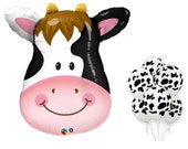 """COW Balloons 6-piece set / Large 32"""" Mylar & 11"""" Latex / Holstein Cow Balloons / Cowgirl / Cowboy"""