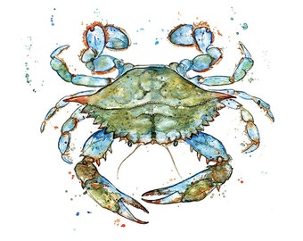 Giclee Fine Art Print: Atlantic Blue Crab Watercolour Painting