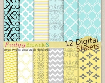 ON SALE Digital paper pack 7.5x11, Digital background , No.119 printable background, yellow , baby blue, grey  Instant download