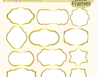 ON SALE gold frames clipart,white background frame,frame A-153,Outline Bracket Frames,scrapbooking,instant download