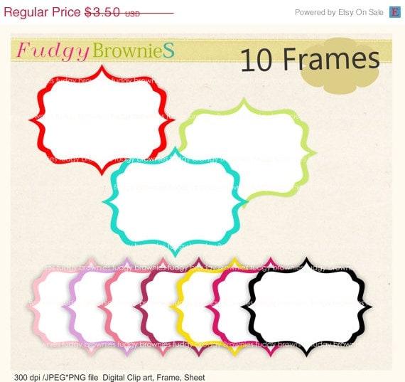 ON SALE frame clip art , clip art , Digital frame, square frames clip art, white background frame, scrapbooking frames.A-45 , Instant downlo