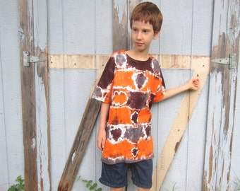 Tie-dyed T-shirt, Child Size Large, Orange with Brown and Gray