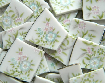 Broken China MOSAIC Tiles - Delicate Flowers - Recycled Plates