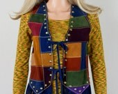 Vintage 1970's Rainbow Patchwork Suede Leather HiPPiE WooDsToCK Fringed Studded Biker Vest Size S
