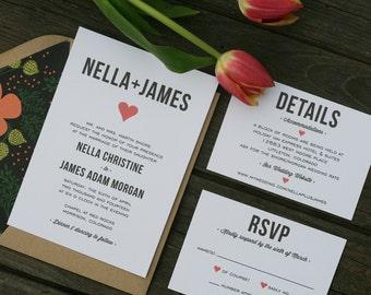 Wedding Invitation, Wedding Invitation Printable, DIY Wedding Invitation, Heart Invitation, Printable Invitation, Wedding Suite - #S14