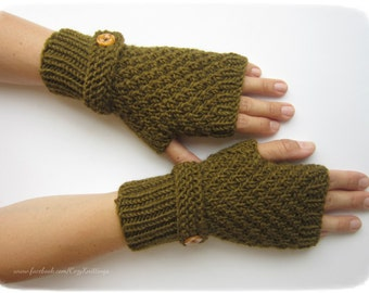arm warmers with strap and button tobacco green knit mittens fingerless gloves winter christmas gift wool wrist warmers merino mittens