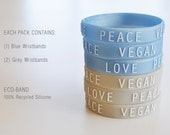 LOVE PEACE VEGAN : Grey & Blue Wristbands (Pack of 3)