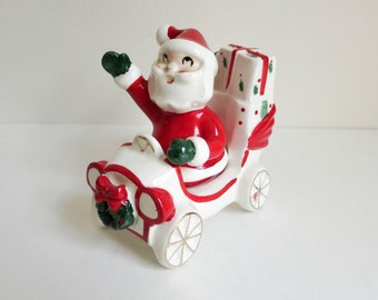 1950's Christmas Salt and Pepper Shakers - Santa in Car and Waving - by Napco - Christmas Decoration Table Decor Holiday Figurine