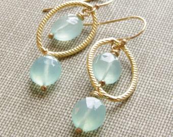 Aqua Chalcedony Earrings 14kt Gold Filled Long Gemstone Earrings Natural Chalcedony Jewelry Blue Bride Earrings Ocean Wedding Jewelry