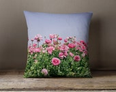 Decorative Pillow cover - pillow case - pink accent pillow case - flower pillow cover - ranunculus pillow - pink ranunculus pillow