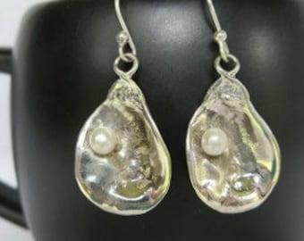 Oyster Earrings - New Orleans Oyster Earrings - Women's Jewelry - Women's Gift - Gift Idea - Sterling Silver Earrings - Louisiana Jewelry