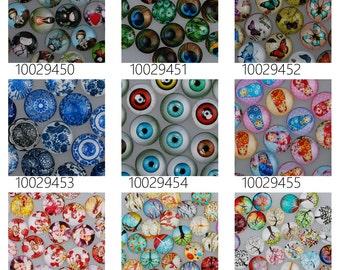 50PCS 18mm Mixed Round Flat Back Handmade Photo Glass Cabochon - Image Glass Cabochons 100294