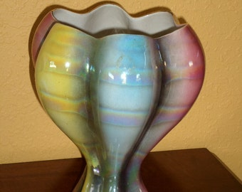 Opalascent Glaze/MULTI COLORED RAINBOW Vase/Vintage/Unique/Lustreware/Blue/Rose/Yellow