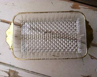 Antique Glass Dish - Clear Glass Hobnail Serving Dish With Gold Trim - Vintage Decorative Divided Serving Ware, Home Decor, Dresser Dish
