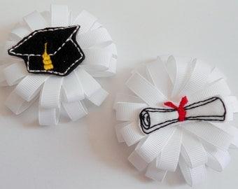 Kindergarten Preschool Graduation Cap and Diploma loopy flower hair bows