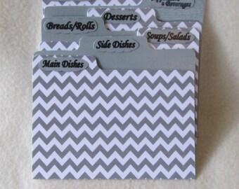 Recipe Card Dividers for Gray Chevron Recipe Box